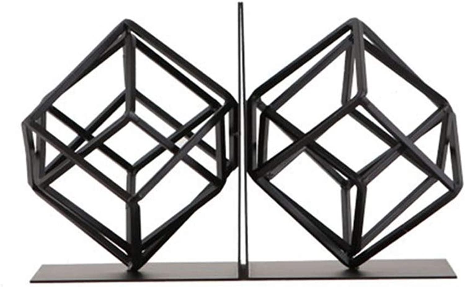 Book Stand, Simple Geometric Wrought Iron Book Block Book Stand Bookcase Desktop Accessories (color   Black)