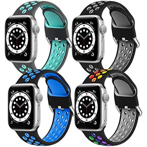 JUVEL Compatibile con Apple Watch Cinturino 44mm 42mm, Cinturini di Ricambio in Silicone Traspirante 4 Pezzi Compatibili con iWatch Series 6/5/4/3/2/1/SE, 44mm/42mm M/L, Grigio/Nero/Nero/Nero