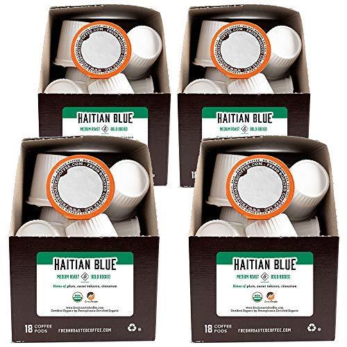 Fresh Roasted Coffee LLC, Organic Haitian Blue Coffee Pods, Medium Roast, 72 Count