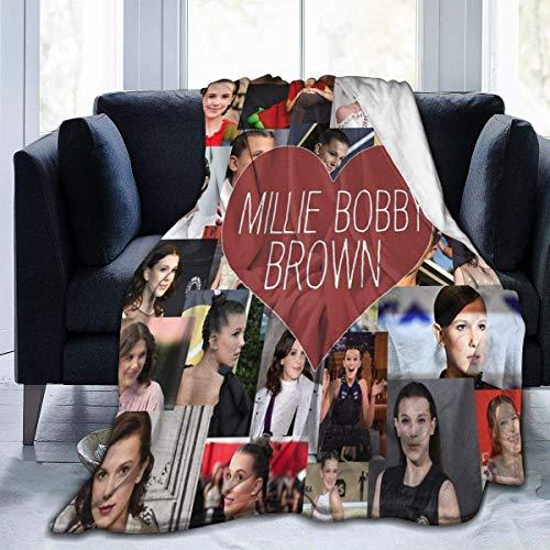 Manta de Forro Polar de Franela Ultra Suave Millie Bobby Brown Elegante Dormitorio Sala de Estar sofá Manta cálida 60 'X50' para Adolescentes