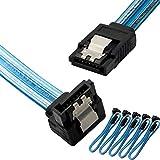Cable de datos SATA 3, 90 grados, Serial ATA III, 6,0 Gbps, 7 pines hembra a hembra, cable de datos plano con cierre de bloqueo para disco duro SATA, SSD(5 paquetes azules)
