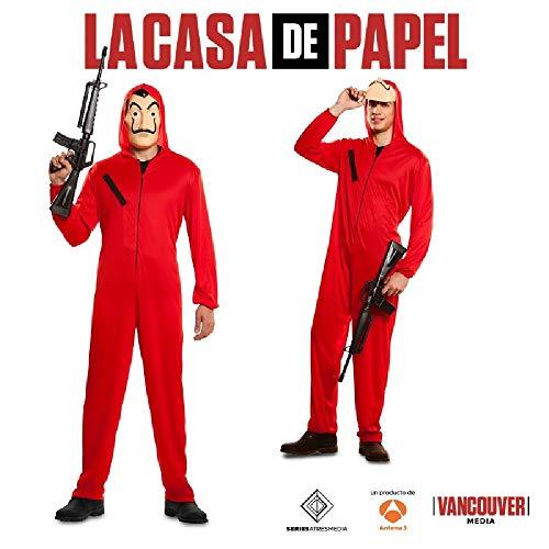 Ciao- Tuta e Maschera rapinatore Carta Originale Casa de Papel (Taglia S) Costume per Adulti, Colore Rosso, S, CS940106