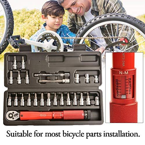 Fahrrad Einstellbarer Drehmomentschlüssel - Fahrradreparatur-Werkzeugsatz Manueller Ratschenschlüssel Inbusschlüssel-Werkzeugsockelsatz-Satz 2-24 Nm