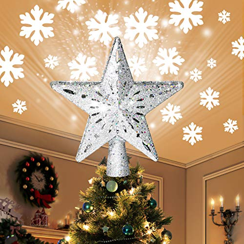 COOLWUFAN Christmas Tree Topper Lighted Star with LED Rotating Snowflake Projector Lights, 2-in-1 Gold Glittered 5 Point 9.8 Inch Star Tree Topper Snowfall LED Lights for Xmas Tree Decoration (Silver)