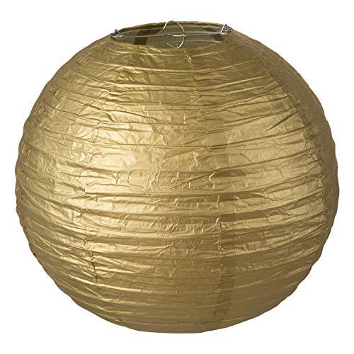 LIHAO Lampenschirm Rund Papier Laterne Golden Classic Bamboo Style Gerippter Hängeleuchtenschirm Deko für Party Garten Schlafzimmer Wohnzimmer Dekoration (12