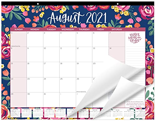"""bloom daily planners 2021-2022 Academic Year Desk/Wall Calendar - 21"""" x 16"""" Large Monthly Organizer Pad (August 2021 - July 2022) Hanging or Desktop Blotter - Vintage Floral"""
