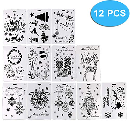Lystin 12Pcs Christmas Painting Stencils, Plastic Stencil Bullet Journal Stencil Template Christmas Themes Santa Claus Christmas Tree Snowflakes Reindeers for Card DIY Drawing Craft Project 7'×10'