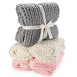 Manta de punto grueso - manta de lana de punto grueso manta de punto grueso para cubrir la cama (180x120cm; gris)