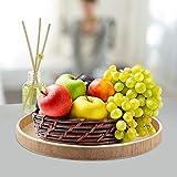 Holz Serviertablett, Rund Couchtisch Tablett Dekoteller Holz Holzteller für Küche Restaurant(24cm) - 2