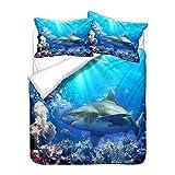 HNHDDZ Juego de Cama Infantil Azul Funda de Edredón Tiburón 3D Oceano Animal Funda Nórdica y Funda de Almohada Microfibra Suave y Confortable (Estilo 4, 150x200 cm - Cama 90 cm)