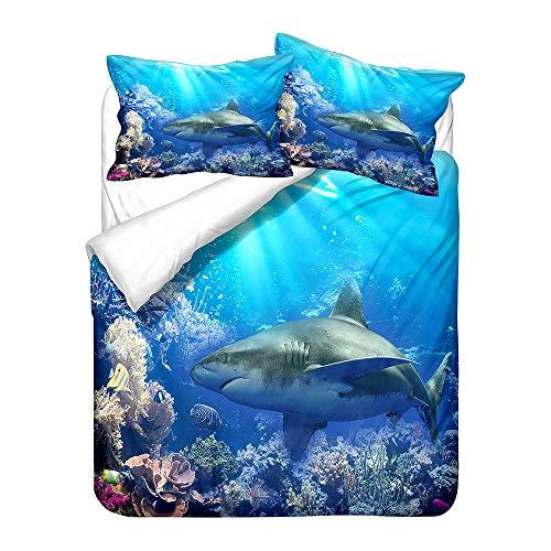 HNHDDZ Juego de Cama Infantil Azul Funda de Edredón Tiburón 3D Oceano Animal Funda Nórdica y...