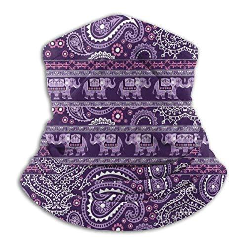 XXWKer Microfibre Chapeaux Tube Masque Visage Tour de Cou Cagoule, Elephant Purple Winter Hats Fleece Neck Warmer Face Neck Scarf