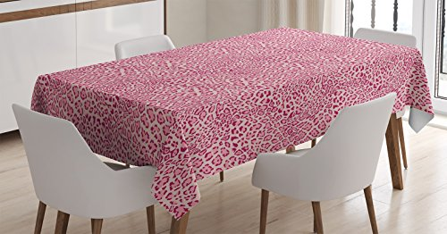 Ambesonne impresión Animal Decor Mantel, Animal Print Leopardo Piel Patrón Girly diseño moderno decoración ilustración, funda para mesa rectangular para comedor cocina, 60x 84cm, color rosa