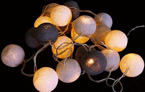 Stoff Ball LED Lichterkette antrazit-grau / Kugel Lichterketten