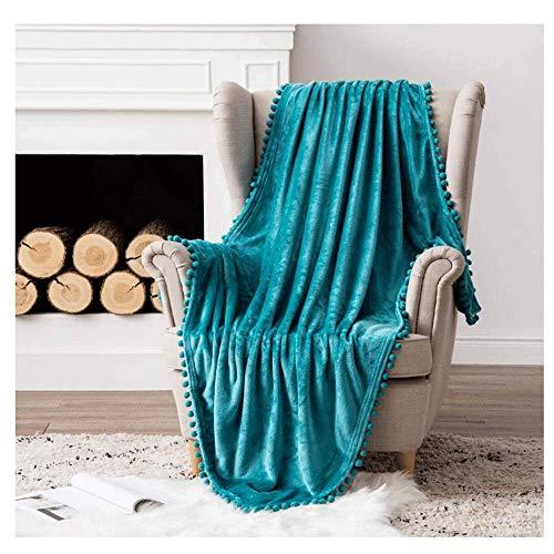 RUIKL fleecedeken, flanel, deken, met pompoms, eenkleurig, woondeken, sofadeken, pluizig sprei, microvezel, beddeken voor bed