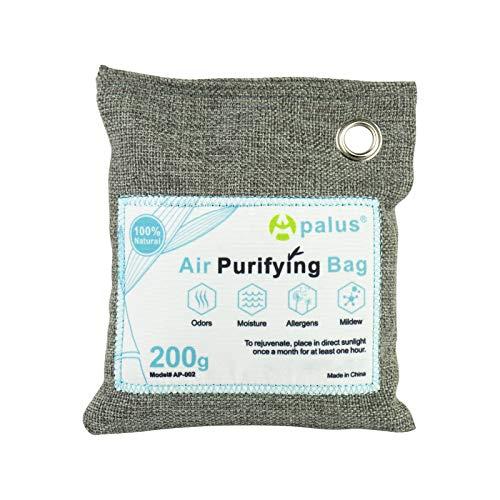 Apalus ® Bolsa de Carbón Activo De Bambú, Deshumidificador Y Purificador De Aire. Ambientador Natural Eficaz y Desodorante para Eliminar los Olores De Armario, Cocina, Zona de Mascotas, (200G)