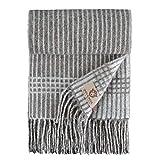 Linen & Cotton Bufanda Invierno Mujer Hombre Estilo, 100% Pura Lana Merino - 68 x 200 cm (Gris - A Rayas)