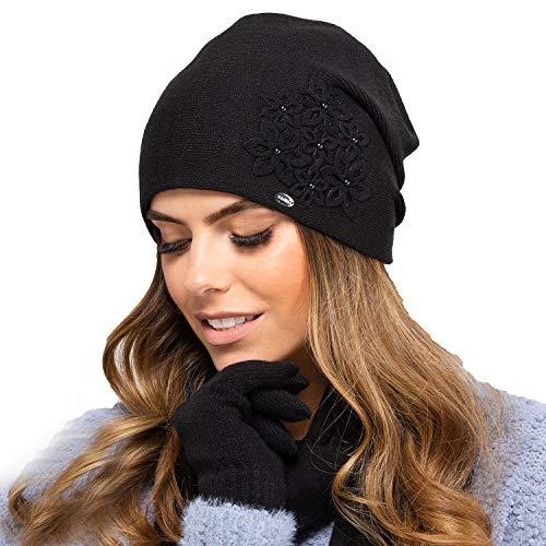Kamea Damen Mütze Kopfbedeckung Herbst Winter Malaga, Schwarz,Uni