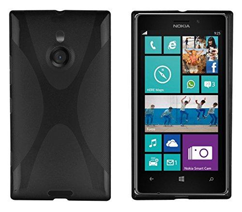 Cadorabo Hülle für Nokia Lumia 925 - Hülle in Oxid SCHWARZ – Handyhülle aus flexiblem TPU Silikon im X-Line Design - Silikonhülle Schutzhülle Soft Back Cover Case Bumper