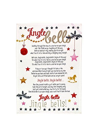 Die Spiegelburg Trapo de Cocina, Paño de Cocina con Texto Cancion Jingle Bells. Serie White Christmas