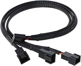 4 Pin PWM Fan Splitter Cable, FBHDZVV Black Sleeved Case Fan Braided Adapter Cable 1 to 3 Converter Y Splitter for Compute...