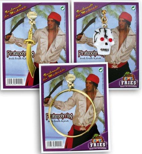 Piratenohrring Pirat Ohrring 3-f sort. Säbel Ringel Totenkopf (1Stück)