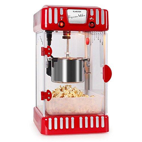 Klarstein Volcano Popcornmaschine - Popcorn-Maker, Popcorn-Bereiter, Retro-Design, 300 Watt, Edelstahl-Topf, Innenbeleuchtung, ca. 60 l/h, rot