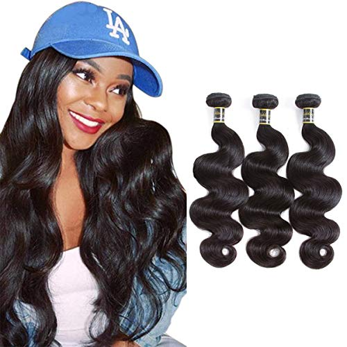 "Puddinghair Upgrade 8A Grade Body Wave Bundles 14""16""18""-Unprocessed Virgin Brazilian Human Hair Bundles Natural Black Brazilian Human Hair Weft Body Wave Remy Human Hair Weave"