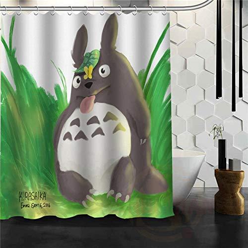 N / A Cartoon Anime Totoro Duschvorhang Klassisches Muster Bad Vorhang Stoff Polyester SchöNe VorhäNge-B150xH180cm