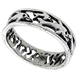Sterling Silver Dolphins Ring for Women 1/4 inch Size 6.5
