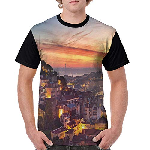 Man's T Shirts,Cityscape of Lisbon Portugal Traditional Seaside City Colorful Sky Sunset Evening View L