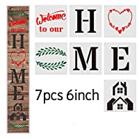 ホームサイン 木製ペイント用ステンシル 再利用可能 7枚セット 文字と数字のステンシル アルファベットステンシル DIYプロジェクト/ギフトなどに
