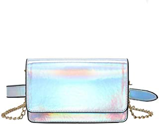 Holographic Fanny Pack, Leather Waist Pack for Women with Removable Belt for Festival, Party, Travel
