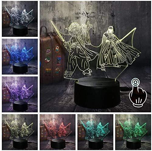 Nachttischlampen für Kinder 3D-Illusion Licht Star Wars 3D-Nachtlichter LED 7 Farben-Änderungs-Licht Yoda Das Vida Dekor Kid Geburtstagsgeschenke (Farbe : Touch)