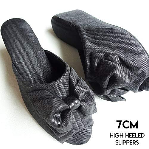 ヒール高7cm 日本製 モアレリボン ヒールスリッパ ブラック(黒)レディースM・Lサイズ 木ヒール使用 厚底