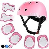 ValueTalks Kids Helmet Pad Set, Adjustable Kids Bike Helmet Knee Pads and Elbow Pads Wrist Guards 3~10yrs Kids Protective Gear Set for Girls Boys Toddlers Child Bike Roller Skating Cycling Scooter