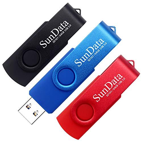 SunData Memorias USB 64GB 3 Piezas Pen Drive USB 3.0 Flash Drive Diseño Giratorio Almacenamiento de Datos hasta 90MB/s, (3 Colores Mezclados: Negro, Azul, Rojo)
