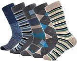 Marino Mens Patterned Dress Socks, Colorful Fun Socks, Fashion Cotton Socks - 5 Pack - Conventional Design Dress Socks - Dappled Iron - 10-13
