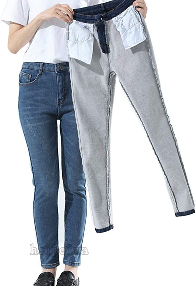 Indianapolis Mall heipeiwa Womens Winter Jeans Fleece High 55% OFF Stretch Den Lined Waist