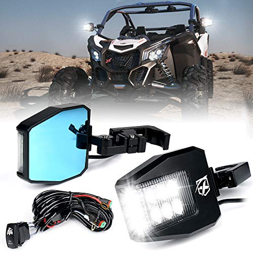 Xprite Aluminium UTV Rear View Side Mirrors with Clear Lens LED Spot Lights fit 1.5-2 Inch Roll Bar Cage for Polaris RZR XP 1000, ATV, UTV, Side by Side, CAN-AM Maverick X3, Teryx, Yamaha