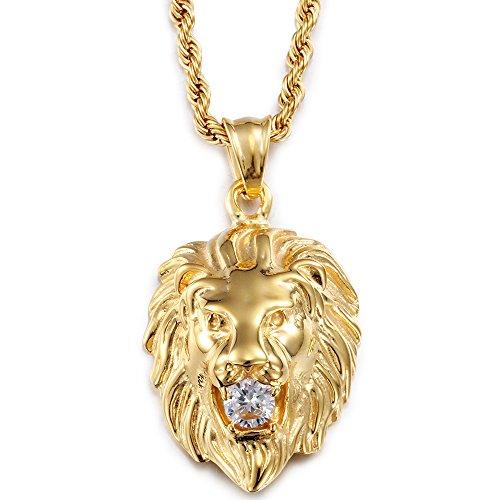 Yorwell Halskette Herren Edelstahl Golden Kette Männer Halskette Herren Löwenkopf Anhänger Halsketten für Herren und 24 inch Kette Gold Schmuck