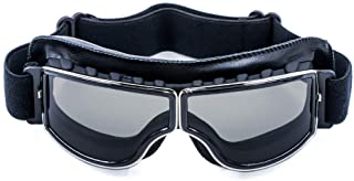 Cynemo Motorcycle Goggles Vintage Pilot Leather Riding Glasses Scooter ATV Off-Road Anti-Scratch Dust Proof Eyewear for Me...