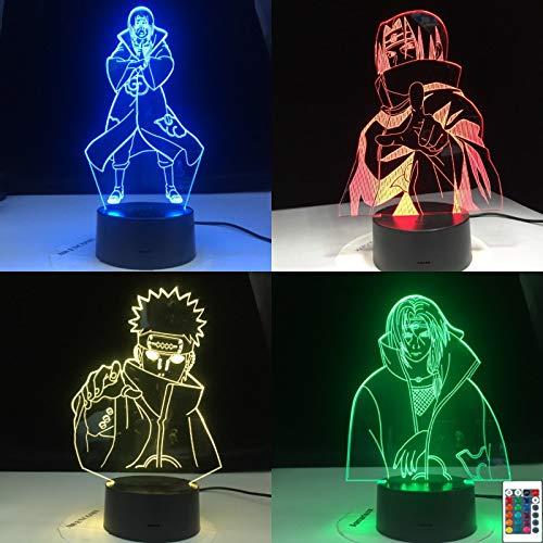 Naruto Sasuke Itachi figura de acción modelo 3D LED luz de noche lámpara de mesa mesita de noche decoración regalo de niños