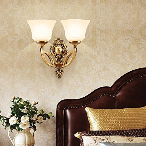 LJL Américain Cuivre Américain Mur Lampe Chambre Tête De Lit Miroir Phare Salon Unique Tête Double Fond Mur Allée Mur Lampe (Style : B)