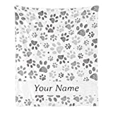Custom Blanket with Name Text,Personalized Dog Paw Super Soft Fleece Throw Blanket for Couch Sofa Bed (50 X 60 inches)