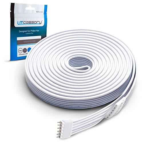 Litcessory Câble d'extension pour Philips Hue Lightstrip Plus (3m, Pack de 1, Blanc)