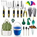 amzdeal Garden Tool Set 34Pieces Chrome-Plated Aluminum Alloy Gardening Tool Kits Indoor and Outdoor Hand Planting Kit with Ergonomic Handle for Women/Men/Gardeners