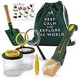 Monte Stivo® Kit Esploratore Bambini   Giocattoli per avventurieri con Lenti di ingrandimento   Regalo per Bambino e Bambina da 4 Anni (Green)