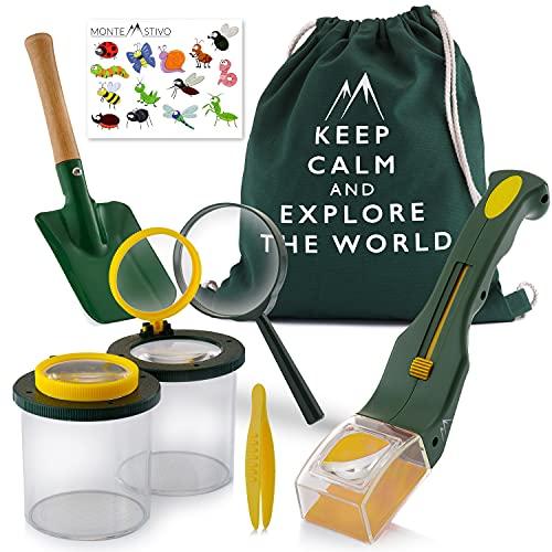 Monte Stivo® Entdecker-Set für Kinder | Insektenfänger Becher-Lupe Turnbeutel...