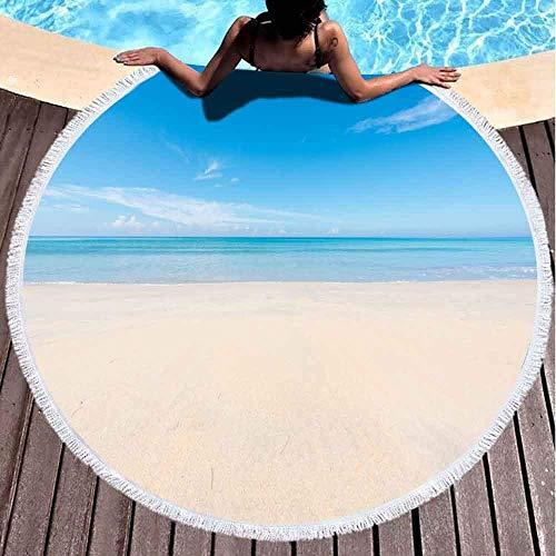 Xuanlin Toalla de Playa Redonda, Toalla de Playa de Secado rápido Sand Beach Blue Sky Cloud Toallas de Playa para niños Toalla de Playa para Mujeres Toalla de Playa de Microfibra de 60 x 60 Pulgadas